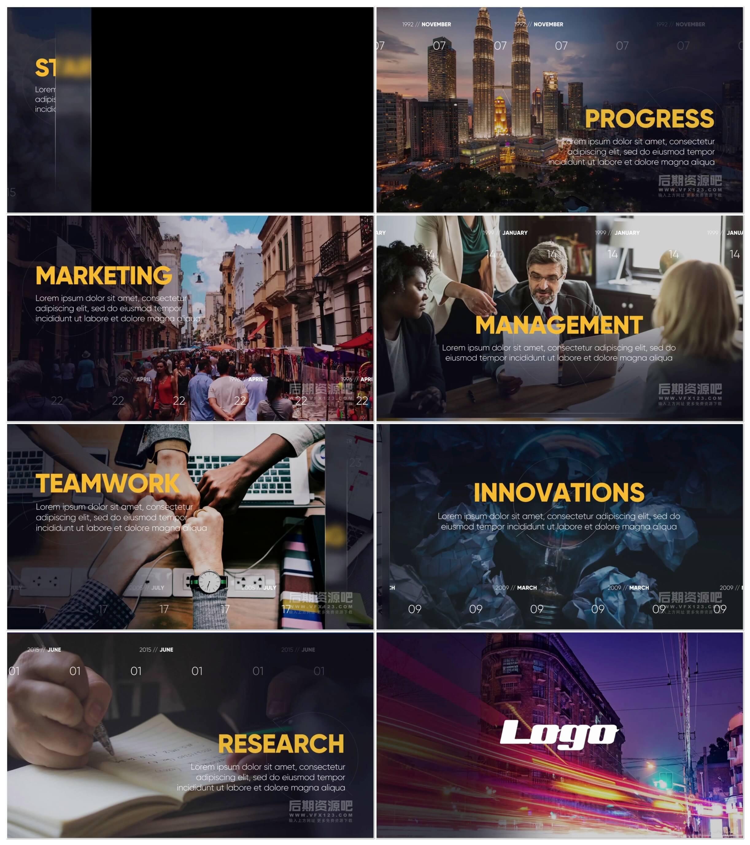 fcpx插件 企业公司发展历程宣传图文展示片头模板 Corporate Slideshow