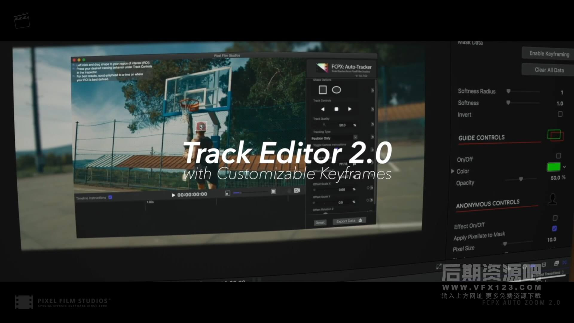 fcpx插件 专业自动跟踪缩放工具 画面添加变焦抖动缩放运动模糊效果 Auto Zoom 2.1
