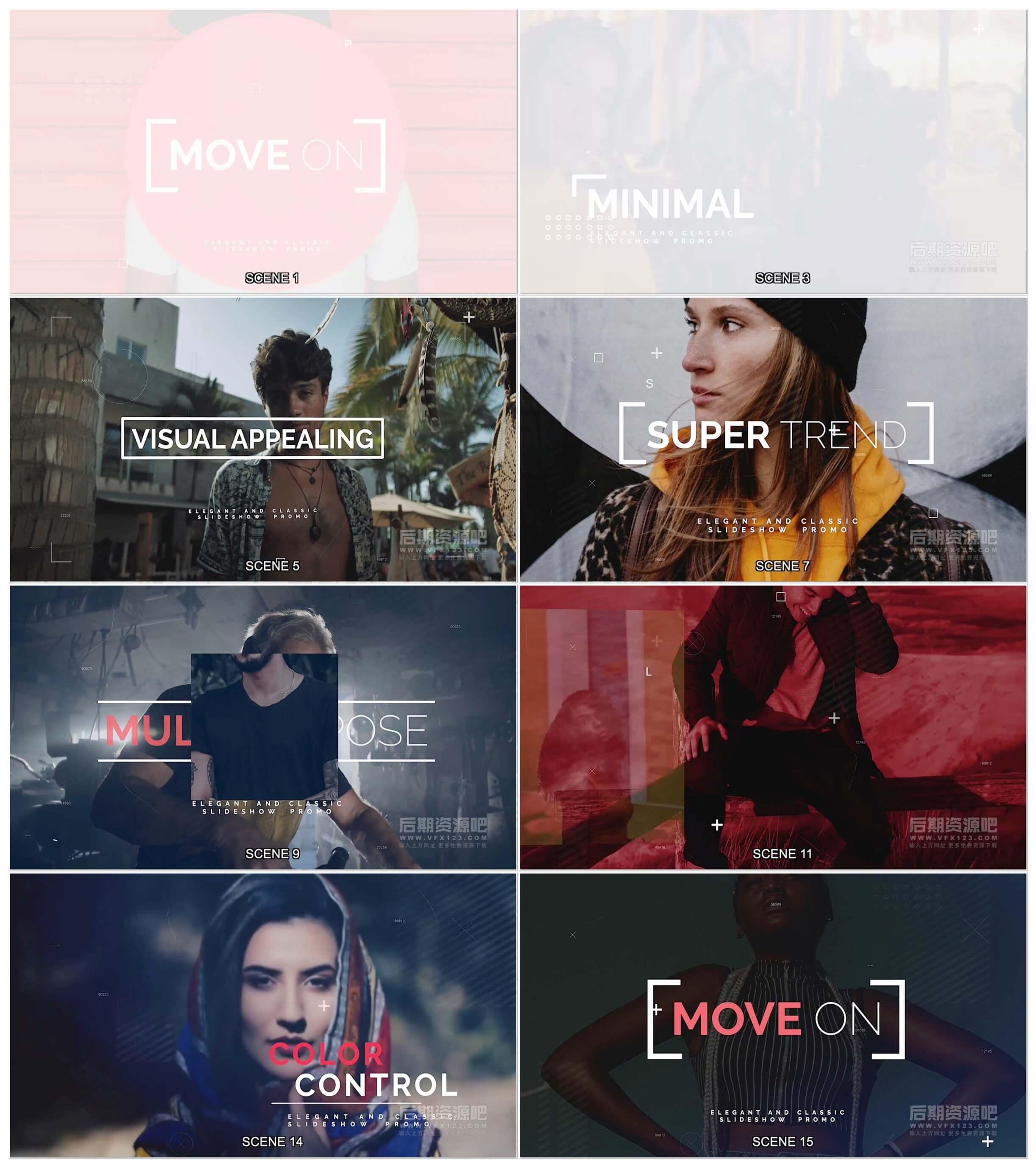 fcpx插件 超酷都市时尚写真图文展示片头模板 Move On